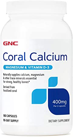 GNC Coral Calcium 400mg with Magnesium and Vitamin D3, 180 Capsules, Supplies Calcium and Magnesium for Healthy Bones and Teeth