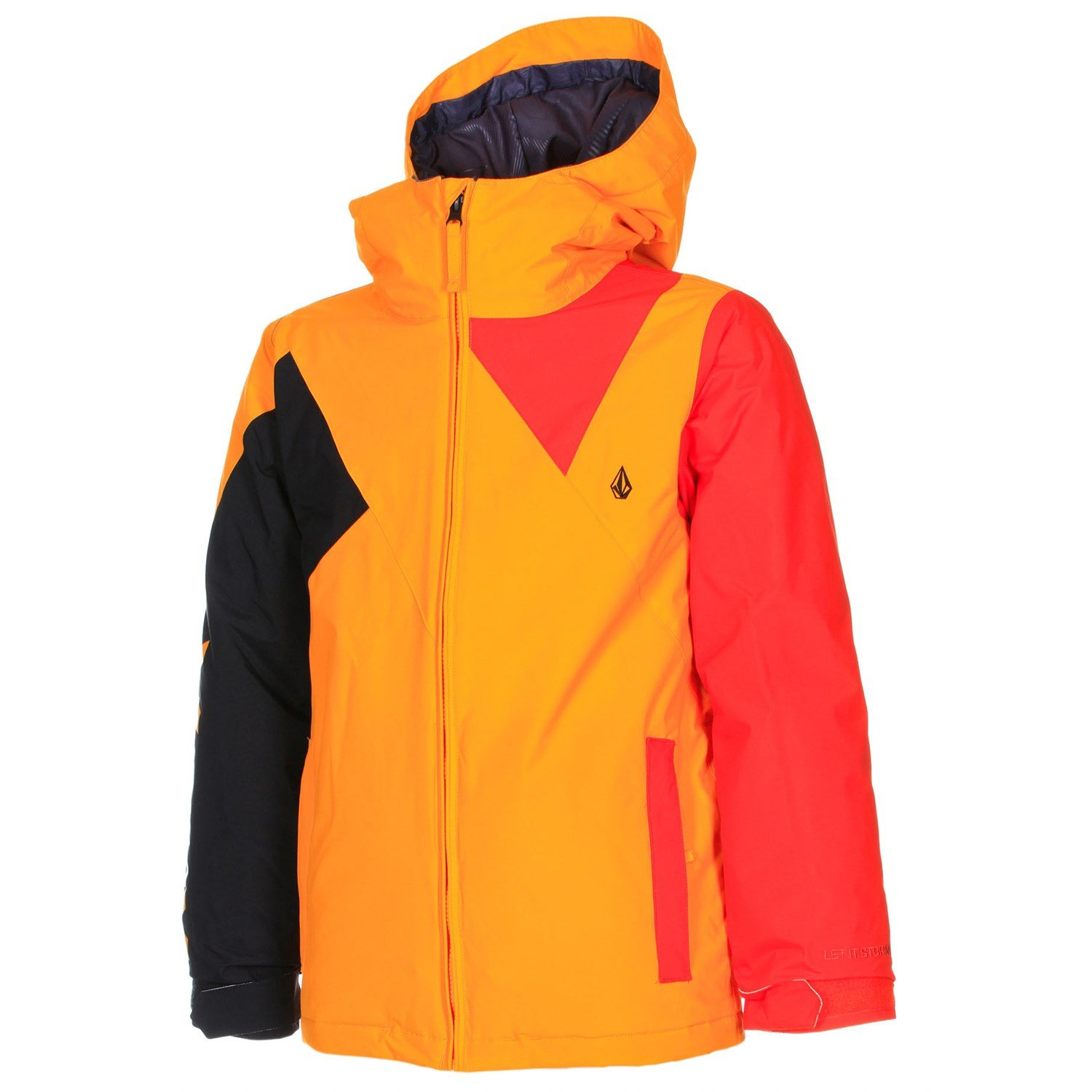 Volcom Boys Impact Insulated Ski and Snowboard Jacket, Orange Burst, Medium