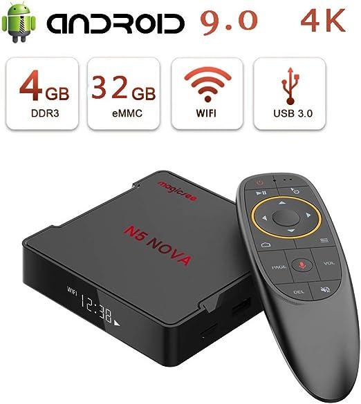 WFGZQ Caja De TV De Voz Android 9.0, Caja De TV Inteligente De 4GB ...