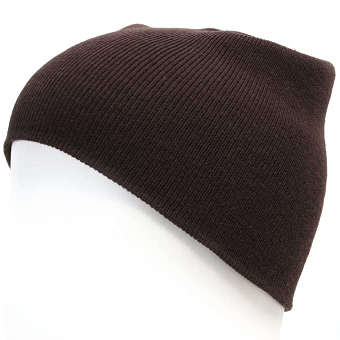 73b1b1f89a8 ililily Brand New Stretch fit Cotton Knit Beanie and Free Size Skullies Brown  Winter Hat Sports