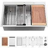 33 Drop In Kitchen Sink-VASOYO 33x22 Topmount Kitchen Sink Drop In Workstation 16 Gauge Deep Single Bowl Stainless Steel Kitc