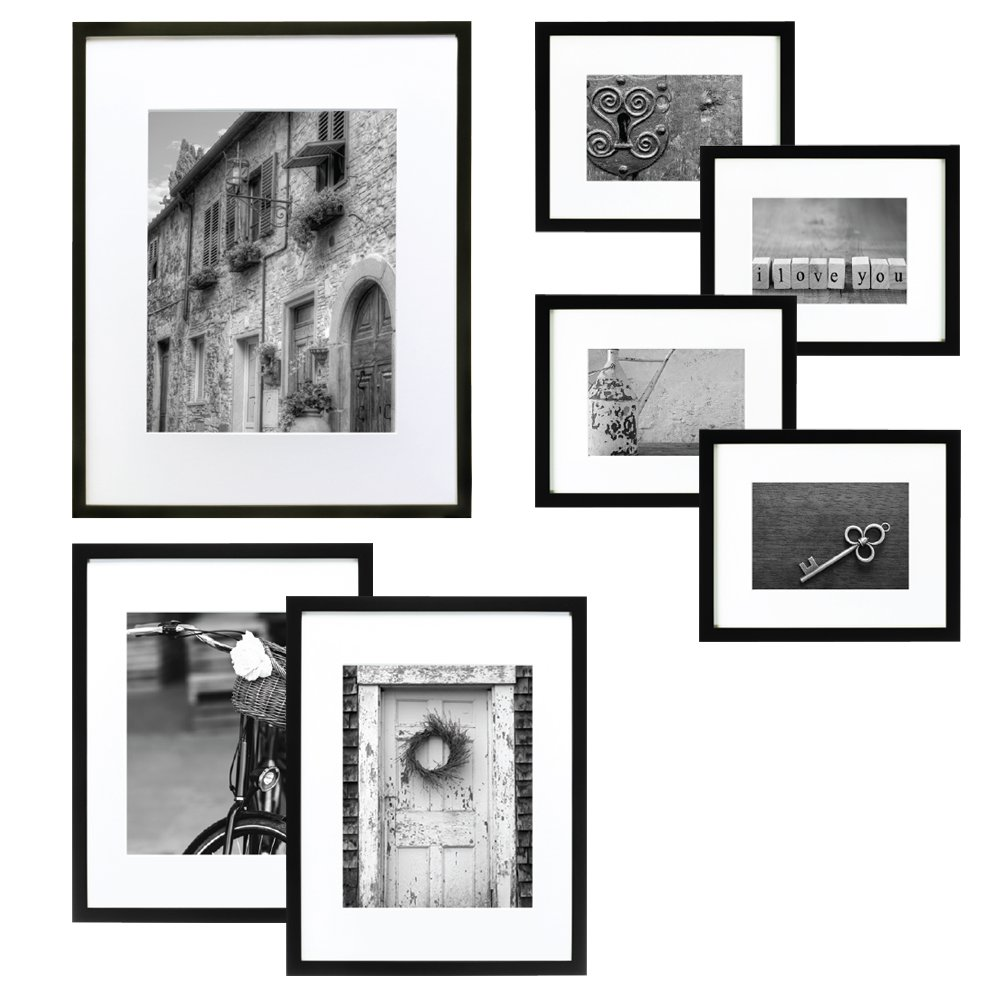 GALLERY PERFECT 7 Piece Black Wood Photo Frame Wall Gallery Kit #14FW1017. Includes: Frames, Hanging Wall Template, Decorative Art Prints and Hanging Hardware Pinnacle Frames and Accents