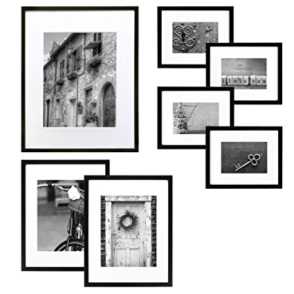 Amazon.com - Gallery Perfect 7 Piece Black Wood Photo Frame Wall ...