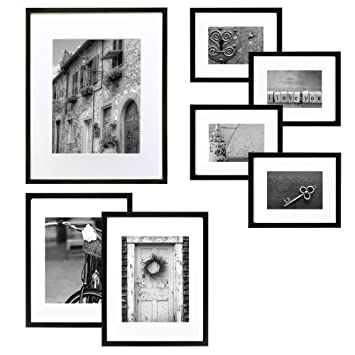 Amazoncom Gallery Perfect 7 Piece Black Wood Photo Frame Wall