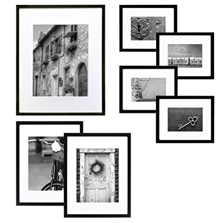 Hang Your Own Gallery 7-Piece Frame Set, Black with White: Amazon.co ...