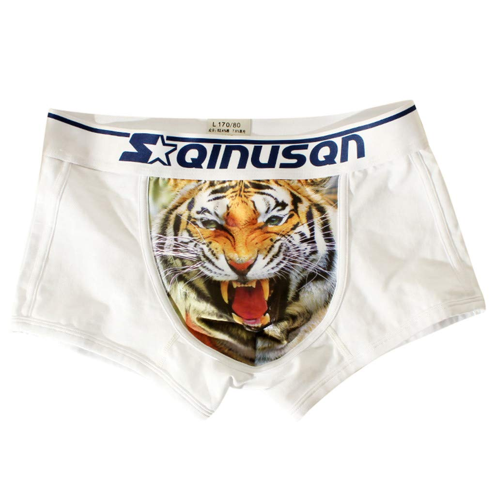 Voberry@ Men's Boxer Briefs Men Funny Underwear Soft Breathable Shorts Pouch Panties