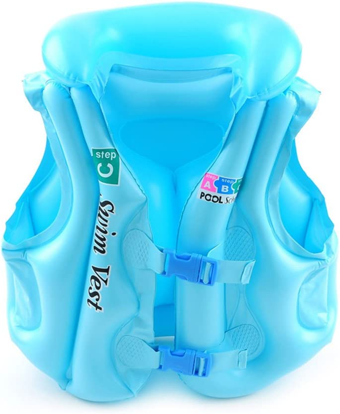 Anyi LifeジャケットInflatable Swim Vest for Kids、サイズS - L、Suitable for 30 – 引っ張れ、カラフルな ブルー Small