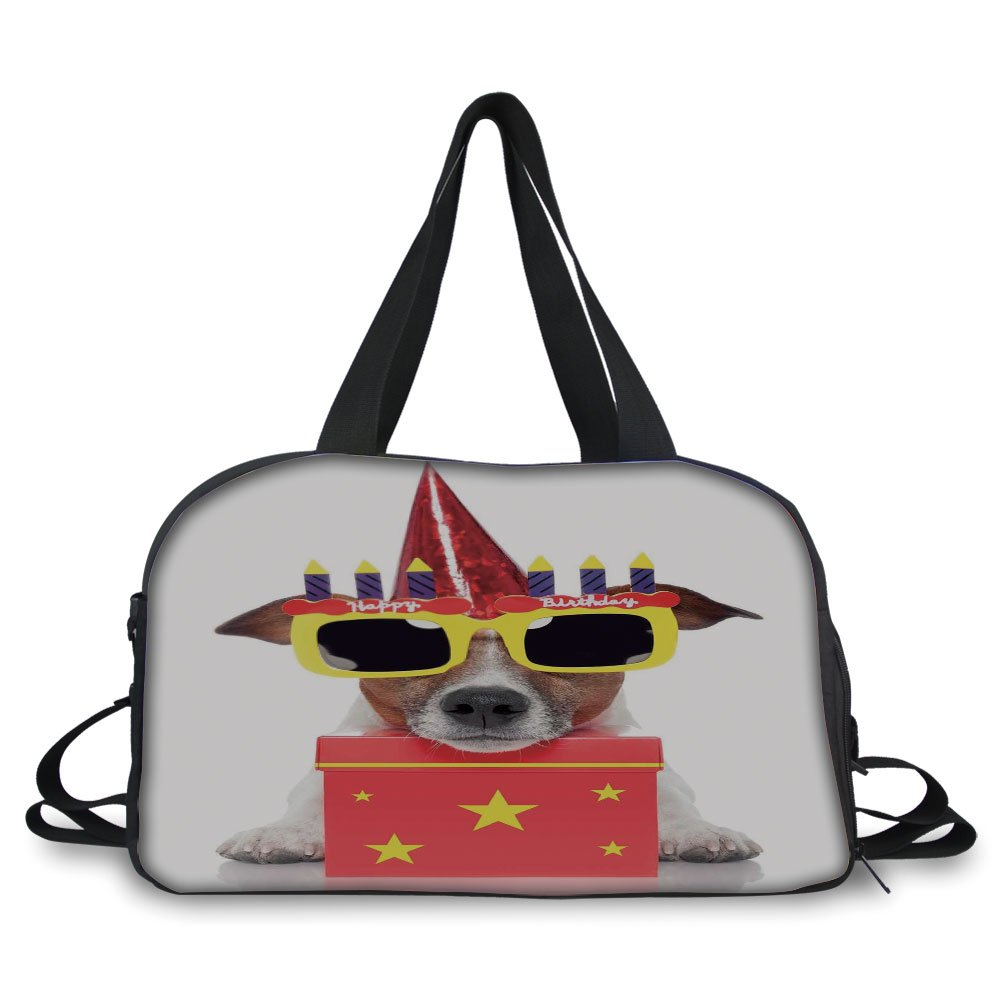 iPrint Travelling bag,Birthday Decorations for Kids,Party Dog with Sunglasses and Cone Hat Boxes Stars Image,Red and Yellow ,Personalized
