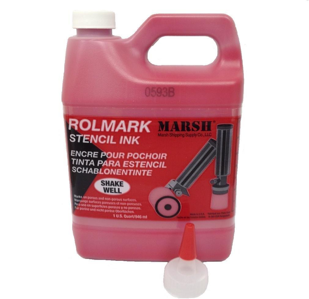 MARSH Rolmark Stencil Ink, 1 qt Can, Red by Marsh