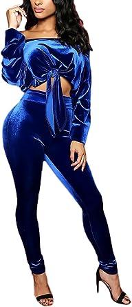 Mujer Conjuntos De Crop Top Y Pantalones 2 Piezas Elegantes Moda Vintage Color Solido Terciopelo Ninas Ropa Manga Larga Sin Hombro Con Nudo Blusas Talle Alto Skinny Pantalon Amazon Es Ropa Y Accesorios