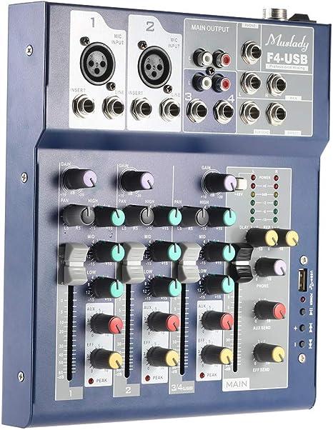 Muslady F4 - Mesa de mezclas (metal, 4 canales, función USB de 3 ...