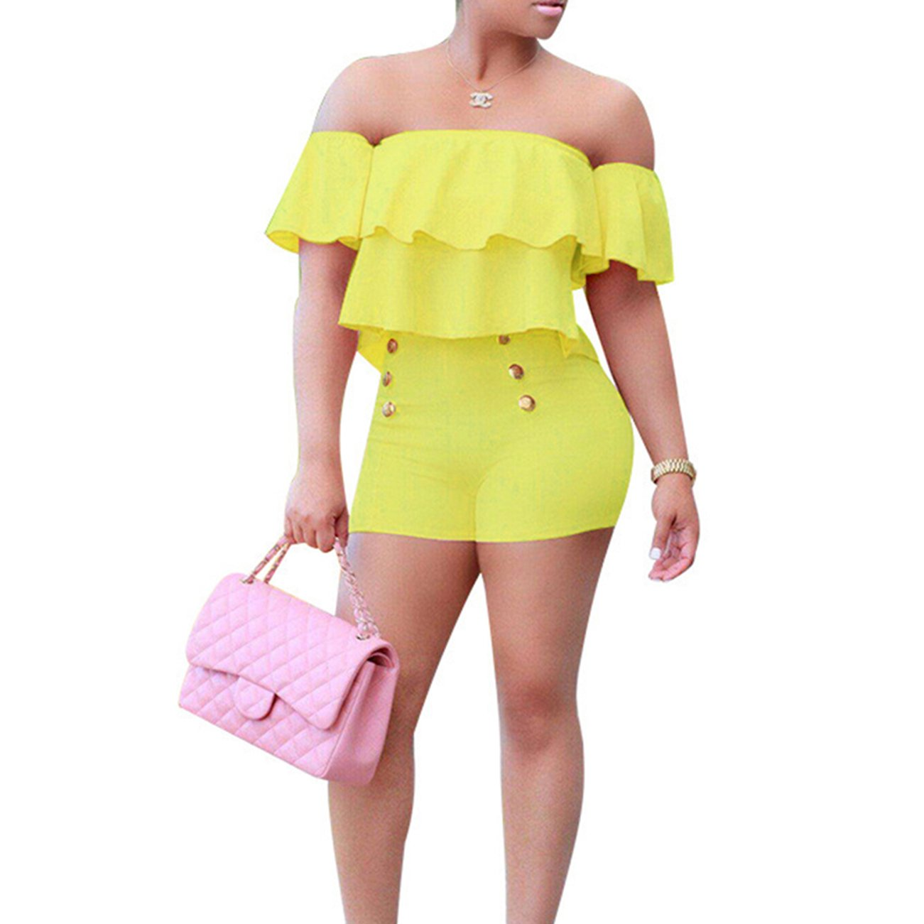 Vilover Women's Sexy Off Shoulder Ruffle Short Romper Jumpsuit Yellow XL