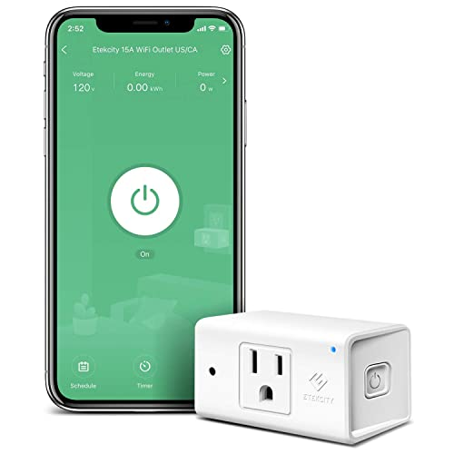 Smart Plug by Etekcity, Works with Alexa and Google Home, 15A 1800W, WiFi Energy Monitoring Outlet with Automatic Night Light, No Hub Required, ETL Listed, White Upgraded Version