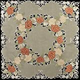 Linens, Art and Things Embroidered Table Topper, Small Table Cloth, Gold & Rust Roses on Antique Green 33'' x 33''