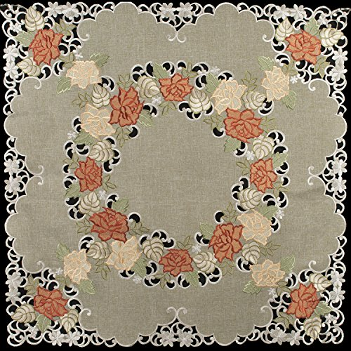 Linens, Art and Things Embroidered Table Topper, Small Table Cloth, Gold & Rust Roses on Antique Green 33'' x 33'' by Linens, Art and Things
