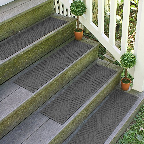 Aqua Shield Diamonds Stair Treads, 8.5 by 30-Inch, Charcoal, Set of 4