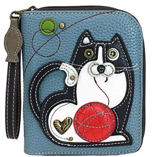 (Chala Fat Cat Zip-Around Wristlet Wallet - Cat Lover Gift Cat Mom)