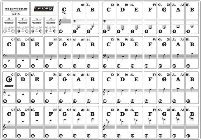Teclado de Piano Pegatinas Desmontable Transparente para Llaves 37/49/61/88 Teclados para Niños Principiantes Práctica de Piano (letras negras con ...