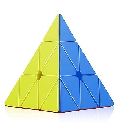 B&B E-Mart Plastic High Speed Pyraminx Stickerless Triangle Rubik Cube Puzzle (Multicolour)