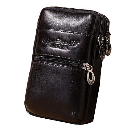c338a589752b Amazon.com: Xieben Vertical Leather Waist Bag Fanny Pack Pocket ...