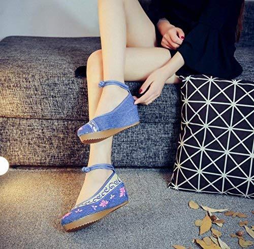 Moontang Bestickte Schuhe Leinen Sehnensohle Ethno-Stil Erhöhte Damenschuhe Mode bequem lässig Jeansblau 40 (Farbe   - Größe   -)