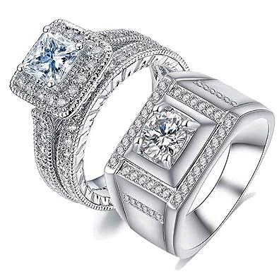 Amazon.com: Juego de anillos de boda con dos anillos a juego ...