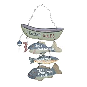 "Wood Fishing Rules Sign - Fish Boat Nautical Decor New Approximately 8"" X 14"""