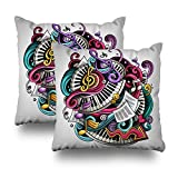 Soopat Decorativepillows Covers 18''x18'' set of 2, Two Sides Printed CartoCute Doodles Music Detailed Lots Objects All Items Are Separate Funny Artwork Throw Pillow Cases Home Decor