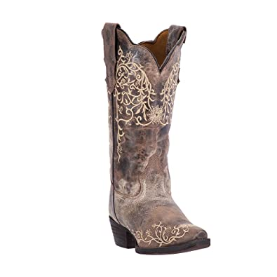 Womens Jasmine Flower Embroidery Cowboy Boot Taupe/Bone