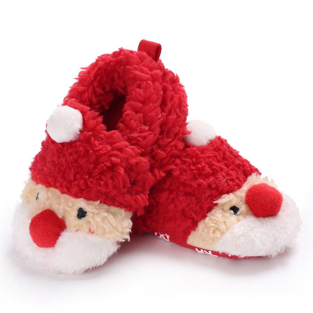 GETHIS Winter Toddler Baby Santa Claus Elk Slippers Warm Fur Soft Snow Boot Slipper Sneakers