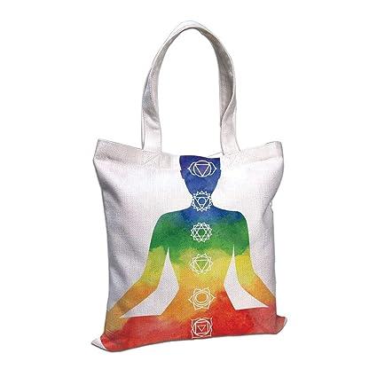 Amazon.com: Cotton Linen Tote Bag, Yoga,Silhouette Yoga ...
