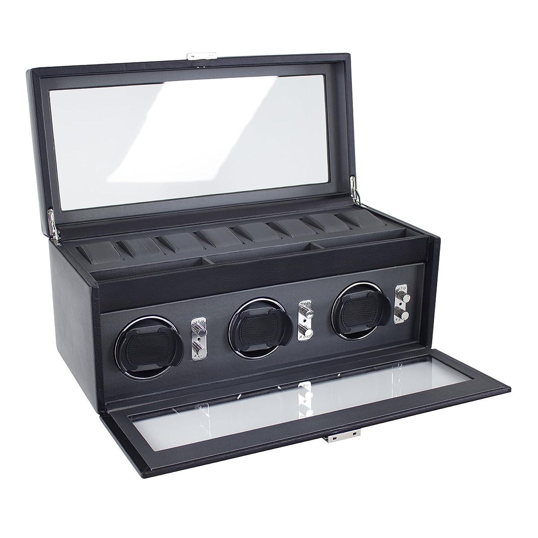 Dulwich Designs 'Eclipse'Classic - aus echtem Leder - dreifach Uhr Rotator - Executive - schwarz mit grauer UnterfÜtterung