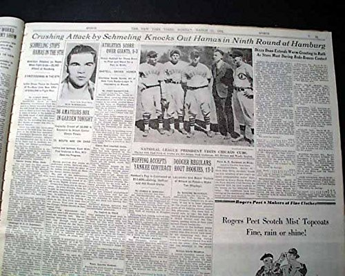 German Fighter MAX SCHMELING Heavyweight Boxing Match w/ Photo 1935 Newspaper THE NEW YORK TIMES, March 11, 1935