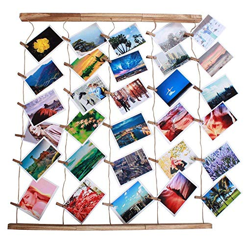 Wood Picture Photo Frame Wall Decor 26×29 inch 30 Clips Ajustable Twines Artworks Prints Multi Pictures Organizer Hanging Display Frames by DANAHENG (Image #1)