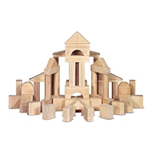 "Melissa & Doug Standard Unit Solid-Wood Building Blocks with Wooden Storage Crate (Developmental Toy, 60 pieces, 5.25"" H x 12.5"" W x 15"" L)"