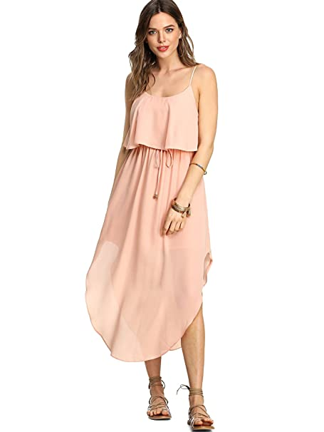 5a17ffa857db Milumia Women s Bohomian Floral Print V Neck Sleeveless Spaghetti Strap  Cami Long Maxi Dress Medium Pink