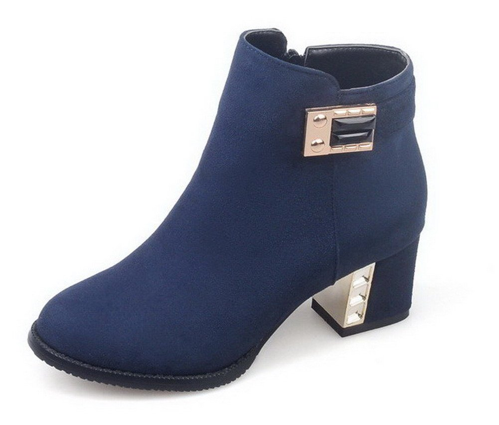 VogueZone009 Women's Frosted Zipper Round Closed Toe Kitten-Heels Low-Top Boots, Blue, 42 by VogueZone009