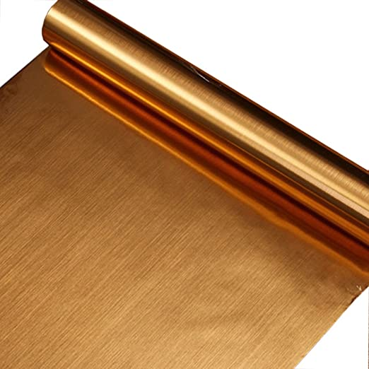 F/&U 24 X 78.7 inch, Gold Brushed Metal Look Contact Paper Film Vinyl Self Adhesive Backing Waterproof Metallic Gloss Shelf Liner Peel and Stick Wall Decal for Covering Counter Top Kitchen Cabinet
