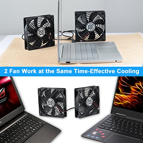 ELUTENG 120mm Fan 2 in 1 Dual USB Fan Computer Cooling Ventilator DC 5V Compatible for Laptop/Playstaion/Xbox One/Mini PC/Router/DVR Radiator Fan by ELUTENG (Image #1)