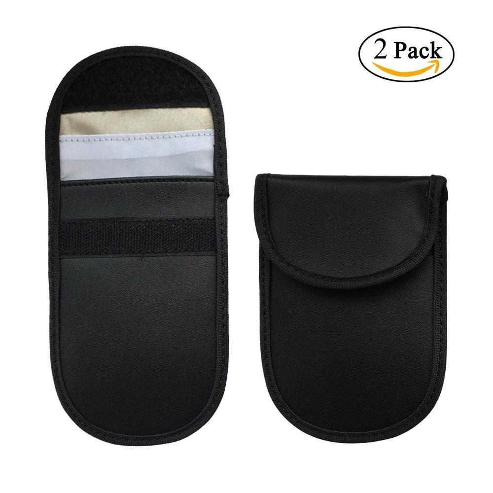 車キー信号Blockerケース、Niceeshop ( TM ) 2パックキーキーレスエントリFobガードファラデーバッグRFID信号ブロッキングケースポーチ、盗難防止ロックセキュリティプライバシー保護デバイス、携帯電話 ブラック B07BK1PS1F B07BK1PS1F ブラック ブラック