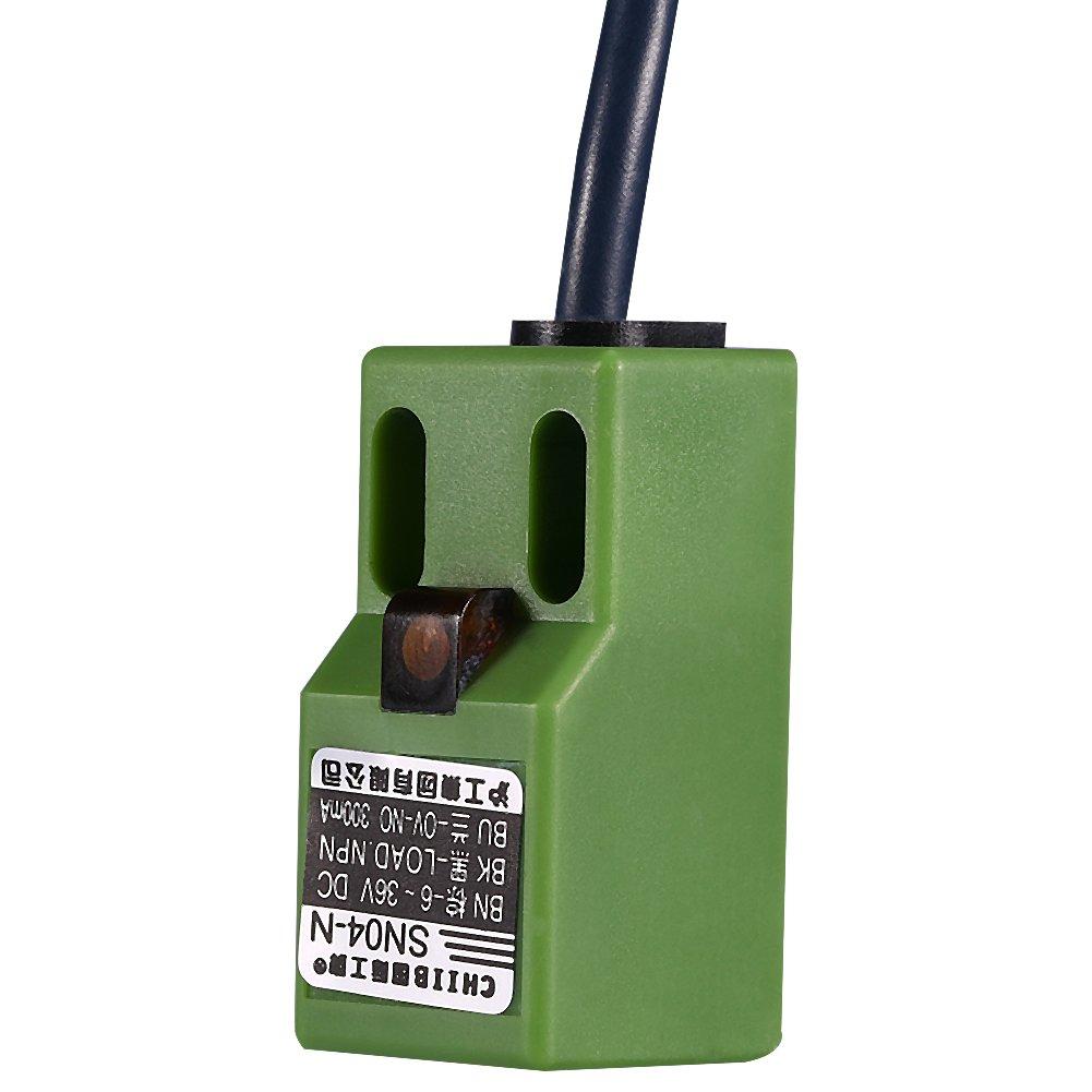Akozon Sensor de posici/ón de nivelaci/ón autom/ática DC 6-36V SN04-N NPN de tres cables Verde Ajuste de posici/ón de la cama de calor autonivelante Sensor de proximidad inductivo