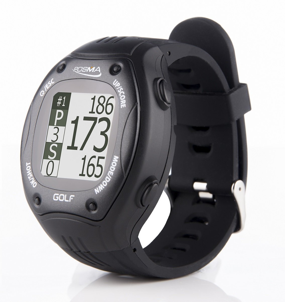 POSMA GT1Plus Golf Trainer GPS Golf Watch Range Finder, Preloaded Europe, America, Asia Golf Courses no Subscription, Black, Courses incl. US, Canada, Europe, Asia, Australia, New Zealand etc. by POSMA