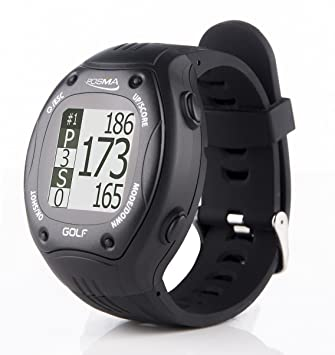 POSMA GT1 Golf Trainer GPS Golf Watch Range Finder, Preloaded Golf Courses,  no download no subscription, Black, incl  US, Canada, Europe, Australia,