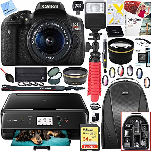 Digital SLR Camera with EF-S 18-55mm IS STM Lens and Canon Pixma MG3620 Wireless Inkjet All-In-One Multifunction Photo Printer 64GB Accessory Bundle ()