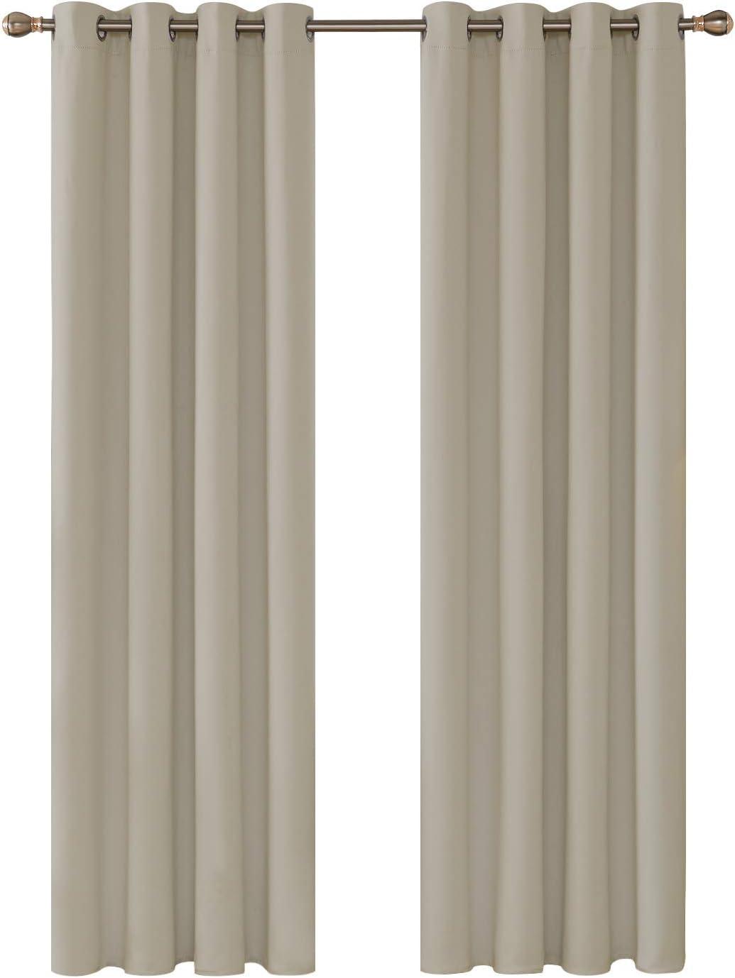 Deconovo Cortina Opaca de Salón Térmica Aislante y Ruido para Ventanas con Ojales 2 Piezas 135 x 240 cm Beige Oscuro