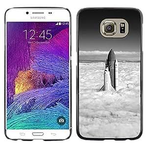 Caucho caso de Shell duro de la cubierta de accesorios de protección BY RAYDREAMMM - Samsung Galaxy S6 - Space Shuttle Nubes