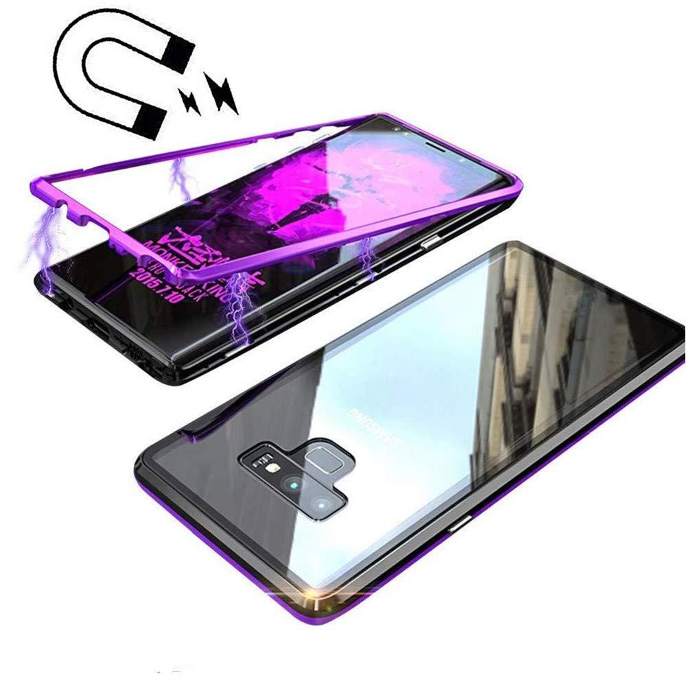 Galaxy S9 Magnetische Hülle, Galaxy S9 Glas Schutzhülle, Miagon Mode Kreativ Aluminium Metall Rahmen Vorderseite und 9H Gehärtetem Glas Zurück Ein Stück Entwurf Muster Ultra Dünn Leicht 360 Grad Ganzkörper Magnetische Adsorption Technologie Transparent Har