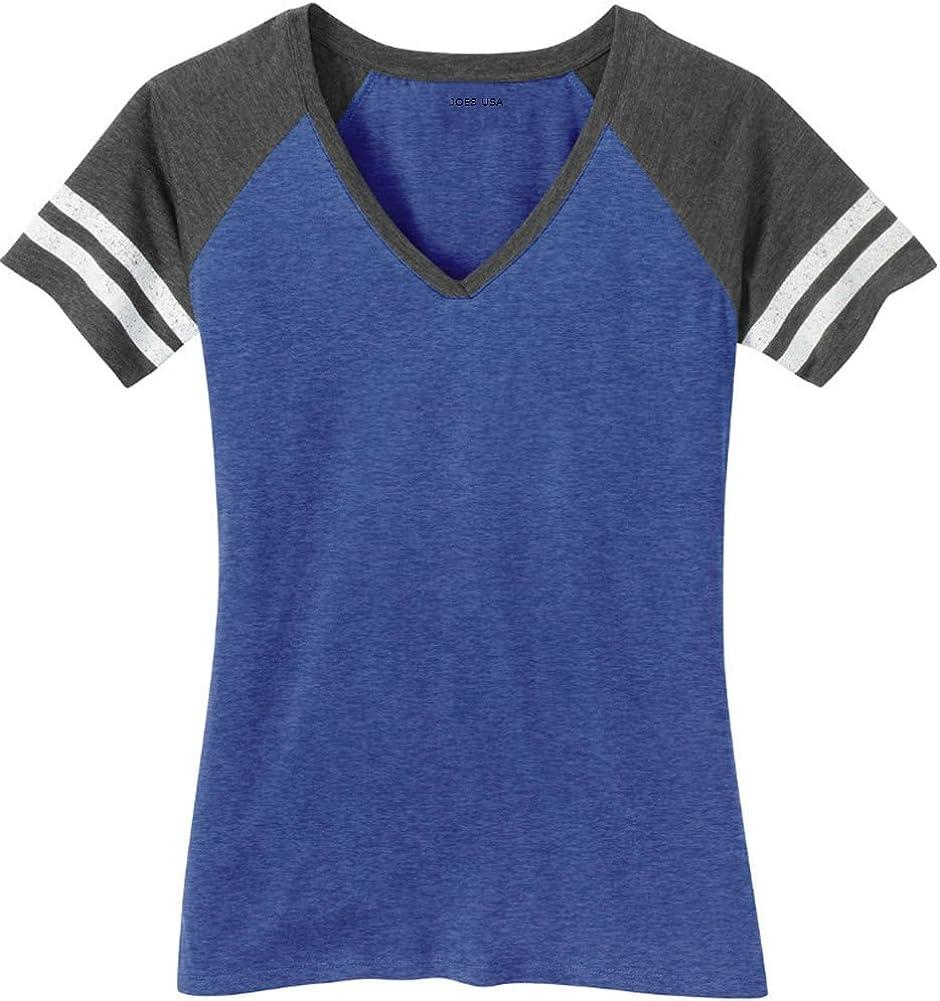 Joe's USA Ladies Distressed Retro V-Neck T-Shirts, Sizes: XS-4XL