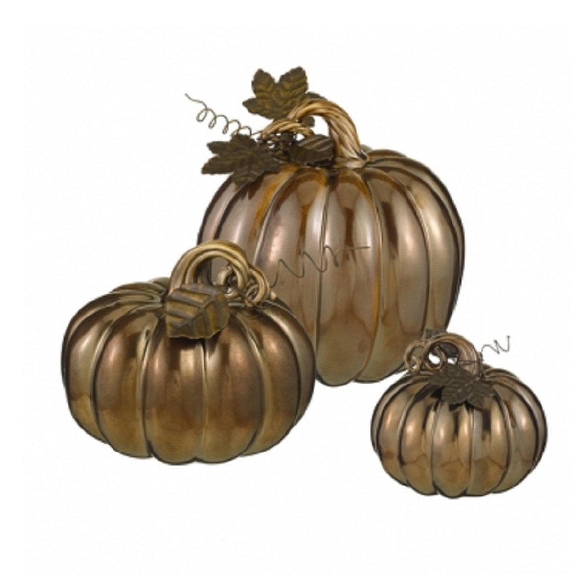 Bronze Pumpkins Set of 3 - Ceramic / Metal