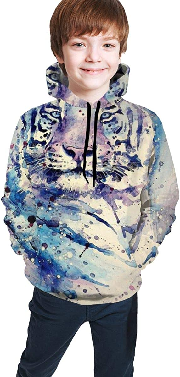 3D Print Pullover Hoodies with Pocket Big Cat Tiger Soft Fleece Hooded Sweatshirt for Youth Teens Kids Boys Girls 7-20 Years